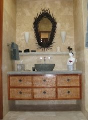 Burled wood elevated vanity