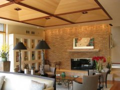 Living room with wood couffered ceiling