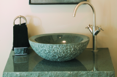 Stone vessel sink and vanity top